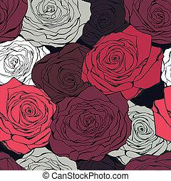 Retro rose seamless vector pattern