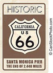 retro, rota 66, sinal., histórico, roud, experiência., viagem, califórnia, nós