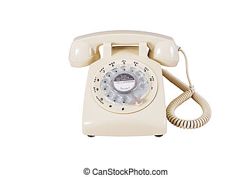 Retro rotary vintage telephone on white background