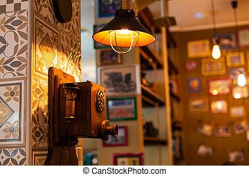 retro, rotatorio, viejo, retro-themed, esfera, café, teléfono