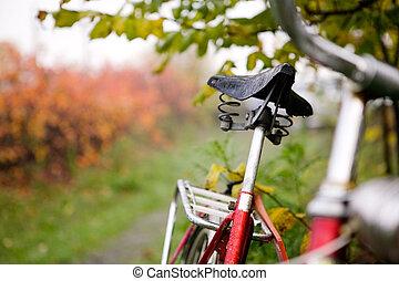 retro, rower, szczegół