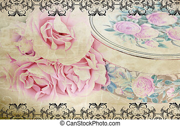 retro, rozen, mooi en gracieus, desing