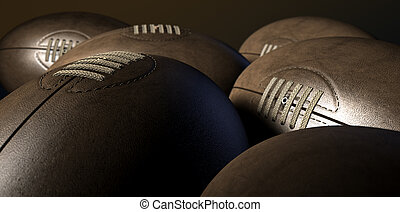 Retro Rugby Ball Collection - A closeup view of a collection...