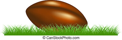 Retro rugby ball lying in grass on white background