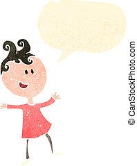 retro, rysunek, szczęśliwa kobieta