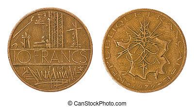 retro, sällsynt, mynt, av, frankrike