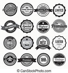 retro, sätta, etiketter, märken, årgång