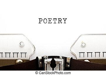 retro, słowo, poezja, maszyna do pisania