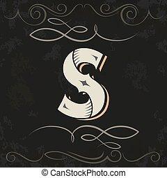 retro, s, occidental, carta, style., design.