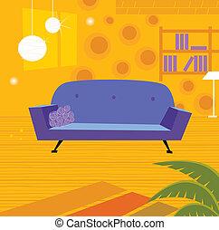 retro, sala de estar, em, estilo retro