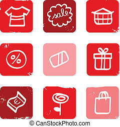 Retro Sale and shopping icons for eshop isolated on white