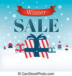 Retro Sale Card With Christmas Gifts