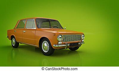 retro., samochód, 3d, przedstawienie