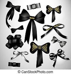 Retro satin black gift bow collection