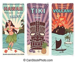 retro, satz, von, banner, mit, hawaiianer, symbole