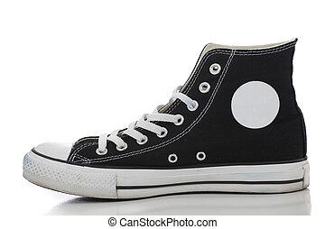 retro, scarpa tennis, su, uno, sfondo bianco