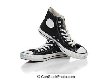 retro, scarpe tennis, su, uno, sfondo bianco