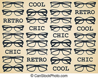 retro, schick, brille