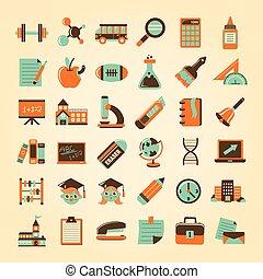 retro, school, opleiding, set, iconen