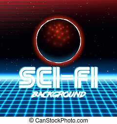 retro sci fi background10 - 80s Retro Sci-Fi Background VHS...