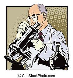 retro, scientifique, style., microscope., gens