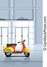 ?ector illustration of the scooter in garage. Simple gradients only - no gradient mesh.