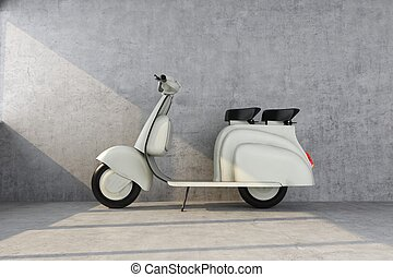 retro scooter lit by the sun