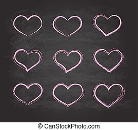 Retro scribble grunge chalk vector heart symbols set
