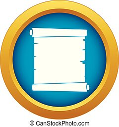 Retro scroll paper icon blue vector isolated