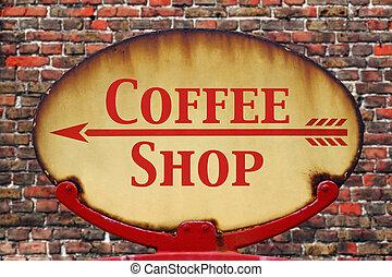 retro, señal, tienda de café