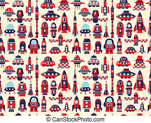 retro, seamless, 로켓, 패턴