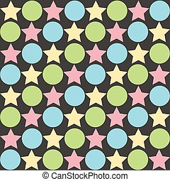 Retro seamless abstract pattern - star alternating circle in muted pastel vintage colors