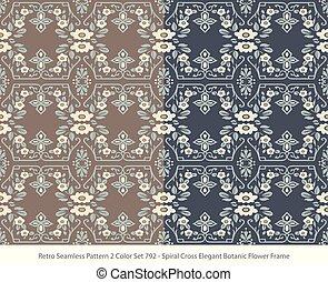 Retro Seamless Background 2 Color Set Spiral Cross Elegant Botanic Flower Frame
