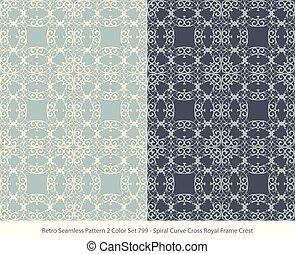 Retro Seamless Background 2 Color Set Spiral Curve Cross Royal Frame Crest