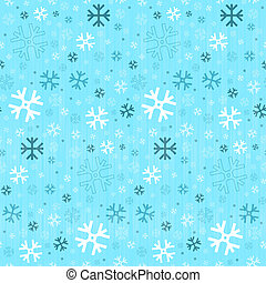Retro Seamless Blue Winter Background with Snowflakes