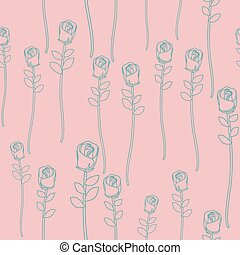 retro, seamless, fondo, rose, floreale, vettore, vendemmia, pattern., rosa
