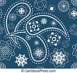 Retro seamless indian blue paisley vector pattern