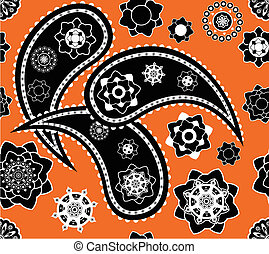 Retro seamless indian  paisley  vector pattern