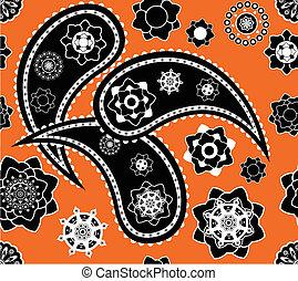 Retro seamless indian  paisley  vector pattern