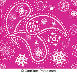Retro seamless indian pink paisley  vector pattern