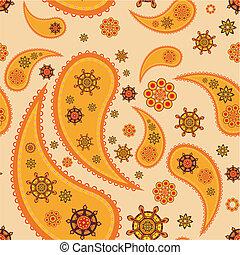 Retro seamless paisley (turkish cucumber) vector pattern