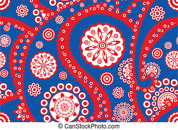 Retro seamless paisley (turkish cucumber) vector pattern