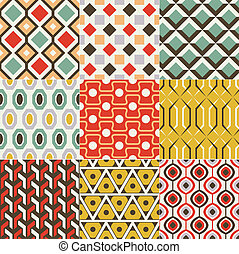 retro, seamless, patrón geométrico