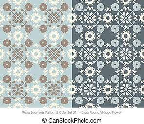 Retro Seamless Pattern Cross Round Vintage Flower