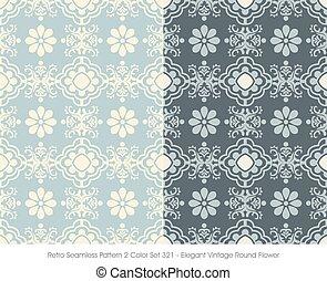 Retro Seamless Pattern Elegant Vintage Round Flower
