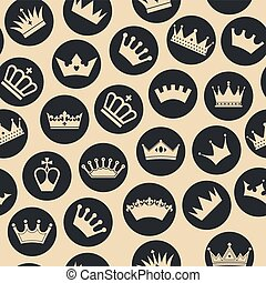 Retro seamless pattern of crowns.