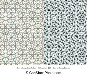 Retro Seamless Pattern Round Cross Flower