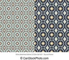 Retro Seamless Pattern Round Flower