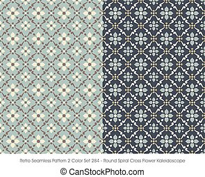 Retro Seamless Pattern Round Spiral Cross Flower Kaleidoscope