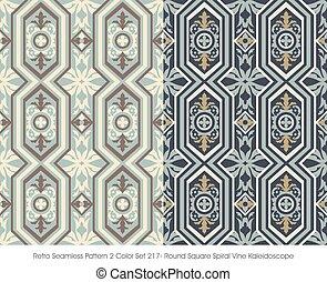 Retro Seamless Pattern Round Square Spiral Vine Kaleidoscope